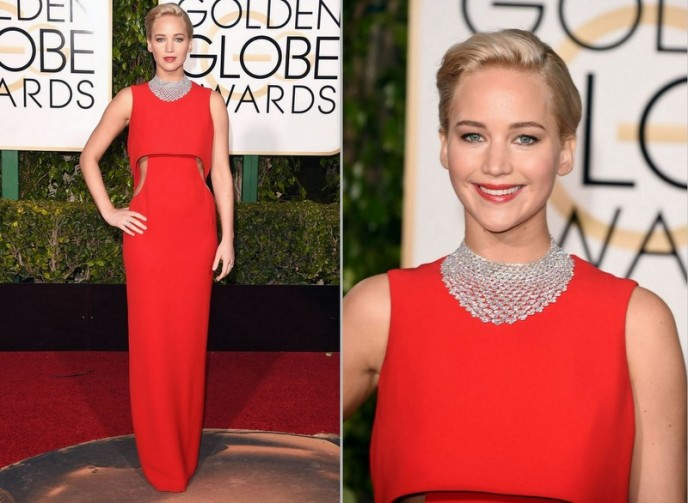 Jennifer Lawrence usa Dior, com joias Chopard