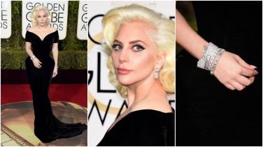 Lady Gaga de Versace e joias Neil Lane