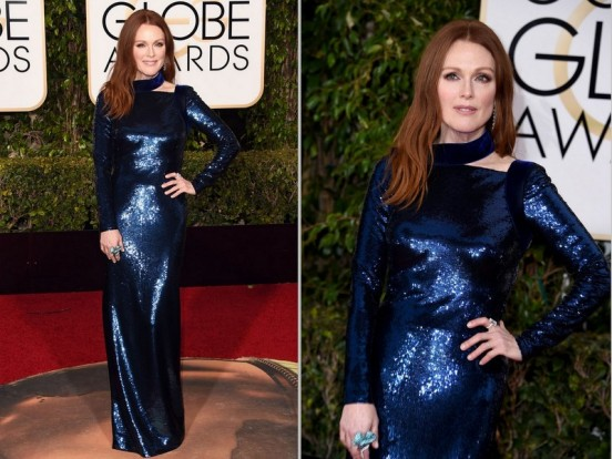 Julianne Moore elegante de Tom Ford, com joias Chopard