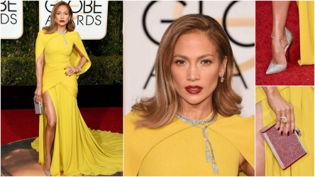 Jennifer Lopez de Giambattista Valli, sapatos Jimmy Choo, joias Harry Winston e clutch Judith Leiber