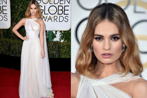 Lily James veste Marchesa e brincos Harry Winston.