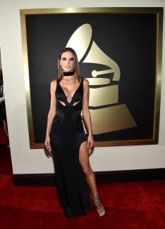Alessandra Ambrosio, com vestido decotado by Versace