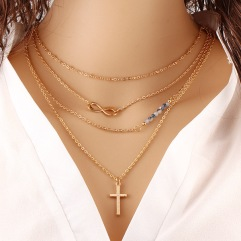 2015-trendy-gold-infinity-beads-Chokers-Necklace-women-simple-cross-pendant-charms-fashion-Natural-Stone-jewelry