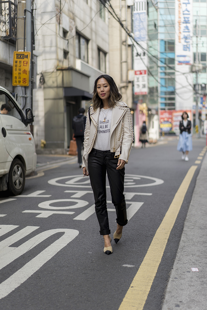 aimee_song_of_Style_laura_mercier_tinted_moisturizer_mcm_jacket_dior_tee_chanel_heels