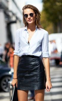 4f94d2888b6b71eb4306684e72987186--light-blue-shirts-black-leather-skirts